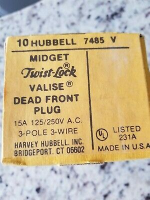 (Sponsored)(eBay) Hubbell 7485V Midget Twist Lock Valise Dead Front Plug 15A Box of 10 each.