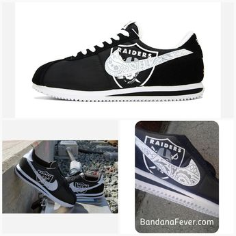 43e88bf25e0b46 Bandana Fever Bandana Oakland Raiders Big Print Custom Black White Nike  Cortez Shoes