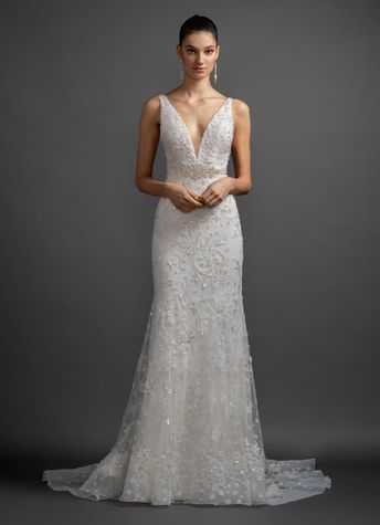 68c2c20cfbb1 Style 3913 Josefina Lazaro bridal gown - Ivory hand beaded and embroidered  trumpet bridal gown,