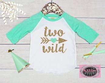 ea1c16e1 Girls 2nd Birthday Shirt, Second Birthday Shirt, Two Wild, Girls Raglan  Shirt,