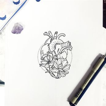 See this Instagram photo by @nathalybonilla • heart anatomy botany floral flower tattoo lineart linework