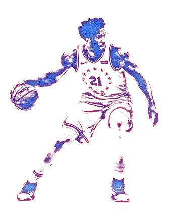 40592257212 Joel Embiid Philadelphia 76ers Water Color Pixel Art 3 Art Print by Joe  Hamilton