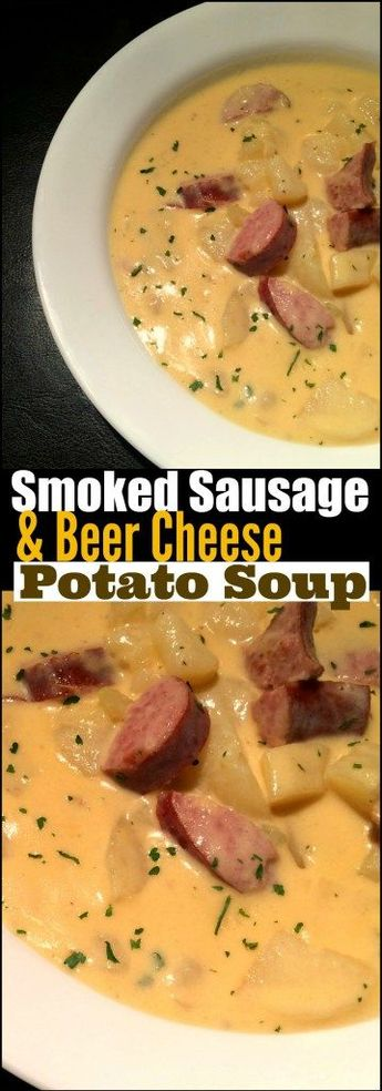 This Smoked Sausage & Beer Cheese Soup is PURE southern comfort in a bowl!  Bonus:  It is ready in under 30 minutes so perfect for a quick weeknight meal on a cold night!