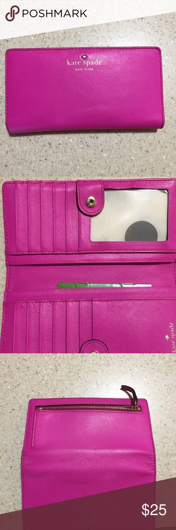 Pink Kate Spade wallet Gently used Kate spade wallet. Pictures show the wear and tears, there are two small pen marks on the front, and also a small stain inside (pic shown) it still has a lot of life to it! kate spade Bags Wallets