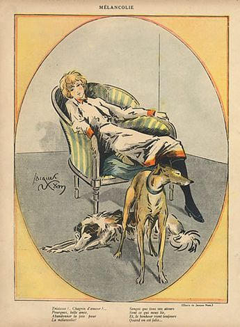 Jacques (Lehmann) Nam 1918 Melancholy, Sighthound, Greyhound Dog