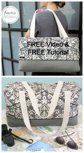 The Perfect Damask Duffle - FREE sewing pattern & FREE step-by-step tutorial