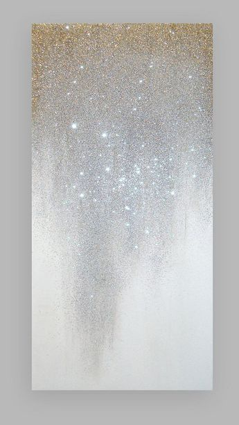 Metallic Art Painting Acrylic Abstract Original Art on Canvas by Ora Birenbaum Beach Shabby Chic Titled: Silver Ribbons 4 30x60x1.5""
