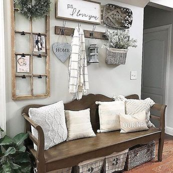 65 Catchy Farmhouse Rustic Entryway Decor Ideas