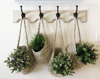 Excited to share this item from my #etsy shop: Hanging Basket - Storage Basket - Hanging Basket for plants - Home Decor - Nursery - Entry way - Handmade - Crochet Baskets - Home decor