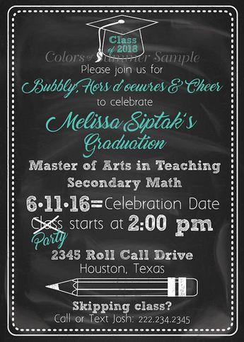 Chalkboard Graduation Invitation Grad Invite Party School