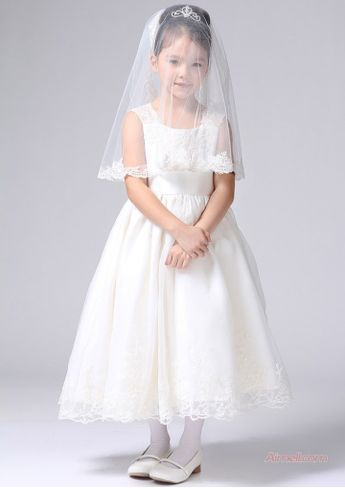 8aae57af1c US 105.99 2015 Straps Lace Zipper Ruched Organza Sleeveless White Tea  Length Flower Girl Dresses FGD2508