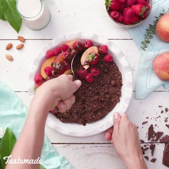 Enjoy brownies for breakfast with this Brownie Batter Breakfast Bake made with almond milk.