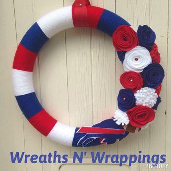 8fcaf9c8 Buffalo Bills burlap wreath w/ chevron bow and wooden footb