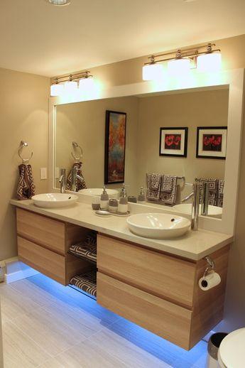 Astonishing Ikea Bathroom Vanity Bathroom Transitional with Quartz Top London Grey Caesarstone Vanity Drawers Floating Porcelain Floor Tile Glass Shelves Under Cabinet Led Light