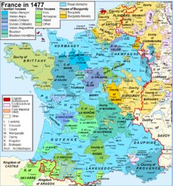 Crown lands of France  Map of France in 1477