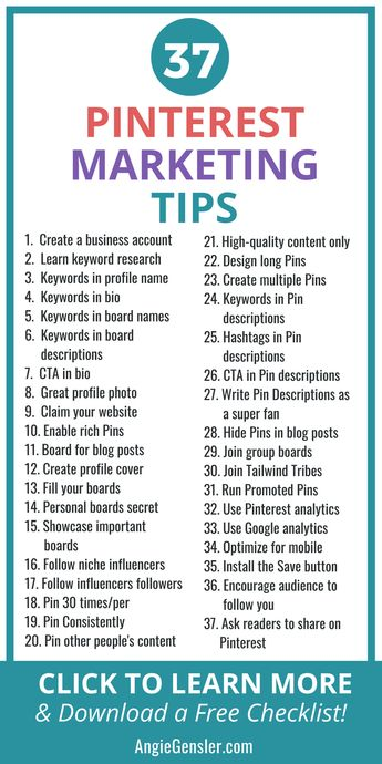 Want to learn Pinterest marketing for business? Here are 37 Pinterest marketing tips and strategies for bloggers and online business owners. Click to learn how to use each marketing strategy on Pinterest and download a checklist with all 37 tips! #pinterestmarketing #onlinemarketing #digitalmarketing Making a living online (or hoping to) as seen through the eys of not a guru but someone kicking it each dday till I get it right. First and Formost I am here to help.