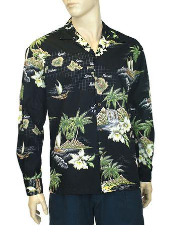 09ebeb0e Check out the deal on Long Sleeves Hawaiian Island Shirt in Cotton at Shaka  Time Hawaii