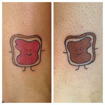 Peanut butter and jelly tats !!  one has the jelly side the other peanut butter 🍞