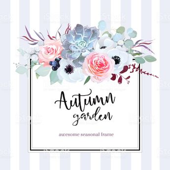 Square floral vector design card. Anemone, echeveria succulent, rose,...