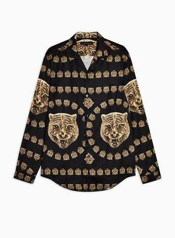 HERMANO Black Tiger Print Shirt