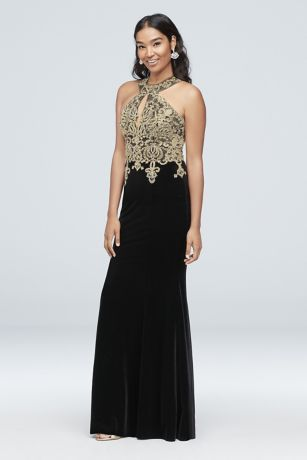 5373396496 Round Neck Metallic Lace and Velvet Halter Gown Style XS10096