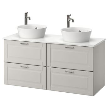 IKEA - GODMORGON/TOLKEN / KATTEVIK Bathroom vanity Kasjön light gray,