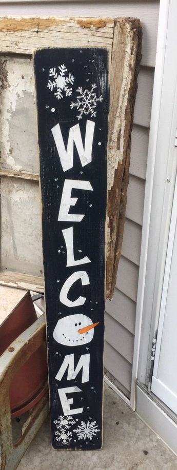 Snowman Welcome Sign, winter porch decor, leaning welcome sign, painted wooden sign, rustic home decor, snowmen welcome sign, porch decor