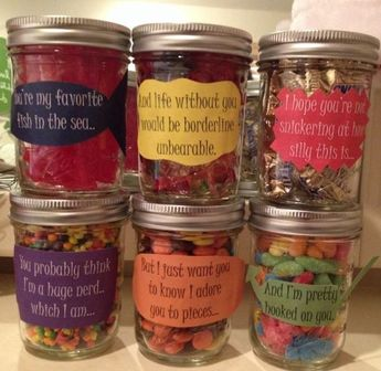"""Birthday message for boyfriend! Mason jars filled with different candy, each corresponding with the note on the jar. """"You're my favorite fish in the sea.""""-Swedish fish """"Life would be borderline unbearable without you.""""-Gummy bears """"Hope you're not snickering at how silly this is.""""-Snickers """"And you probably think I'm a huge nerd.""""-Nerds """"But I want you to know I adore you to pieces.""""-Reese's pieces """"And I'm pretty hooked on you.""""-Gummy worms by kimmie1997 - #adore #bears #birthday #borderline"""