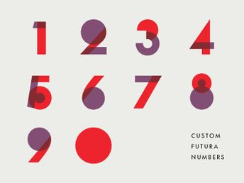 Futura numbers - not a type specimen but I like how they used colors and transparency.