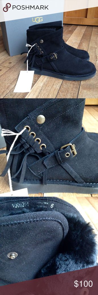 9235d4d64ee7 NIB Ugg black suede Karisa boots w fringe New in Box. Retail originally for