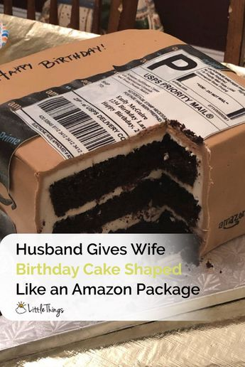 Husband Gives Wife a Birthday Cake Shaped Like a Giant Amazon Package: Waylon McGuire outdid himself this year for his wife's birthday -- he got her a custom cake shaped like her favorite thing: an Amazon package.