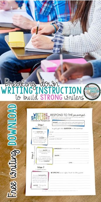 How to teach writing for middle school ELA and high school English students. Writing resources and handouts. #teachingwriting #secondaryELA #Englishteacher