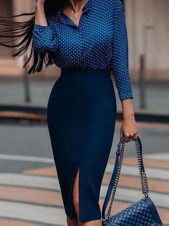 Dot Long Sleeve Shirt & Slinky Slit Skirt Sets