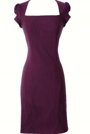 Purple Square Neck Pencil Dress