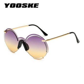 a182f22a4d6 YOOSKE Vintage Round Sunglasses Men Women Rimless Mirror 2019 Siamese  TYJ1805  Discounts  BestPrice