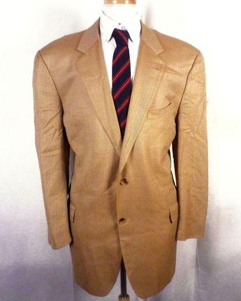 48407df54 euc Joseph Abboud Nordstrom beige 100% Bamboo Herringbone Blazer Sportcoat  46 L | eBay