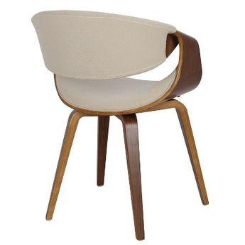 Curvo Mid Century Modern Dining Accent Chair Cream - LumiSource, Ivory