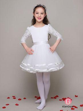 d17937362b3d 3/4 Lace Sleeves Ballroom Tulle Satin Flower Girl Dress #EFL12 - GemGrace .com