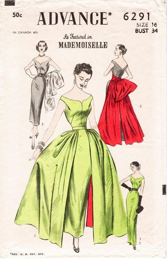 1950s 1960s vintage ball gown wiggle sheath dress & overskirt sewing pattern Mad Men evening formal bridal bust 34 b34 reproduction