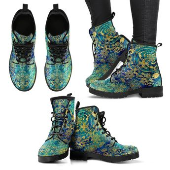 Golden Blue Floral Handcrafted Boots