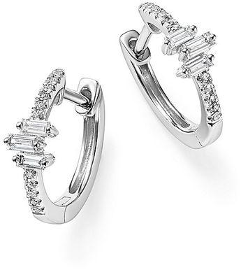 KC Designs 14K White Gold Diamond Mosaic Hoop Earrings