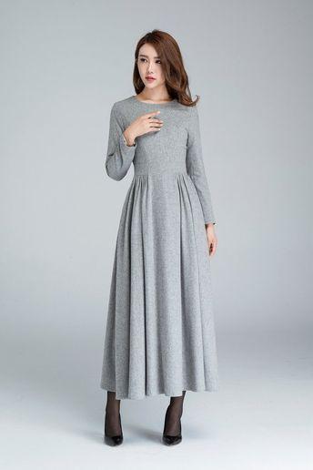 803378a018 Grey wool dress, pleated dress, long dress, womens dresses, winter dress,