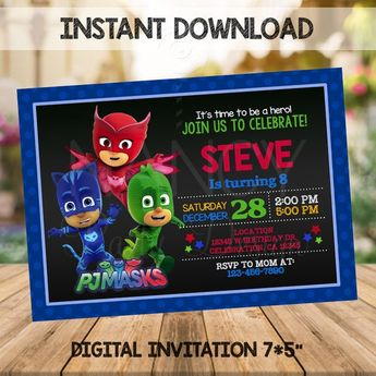 Editable Pj Masks Invitation Birthday Party Printable Mask