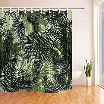 Tropische Pflanzen Palmen Blatter Mit Bluten Duschvorhang M