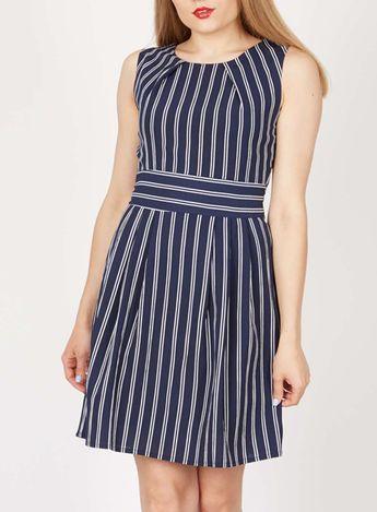Tenki Blue Stripy Skater Dress