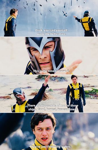 X-men: First Class. (2011). Charles trying to convince Erick of not killing the human beings. #xmen #firstclass