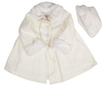 f12600e4e7 BIMARO Baby Mädchen Babymantel Mila creme beige Fleece Mütze Plüsch  Taufmantel Jacke Mantel Hochzeit Taufe –