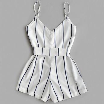 Striped Belted Casual Spaghetti Strap Buttons Cami Romper