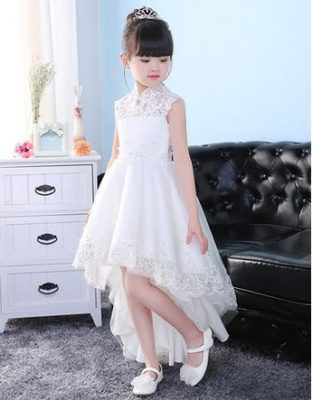 Fashionable A-Line Mandarin Collar High-Low Asymmetrical Hem Tulle Flower Girl Dresses with Beaded Appliques - US$ 109.99 - BuyBuyStyle.com