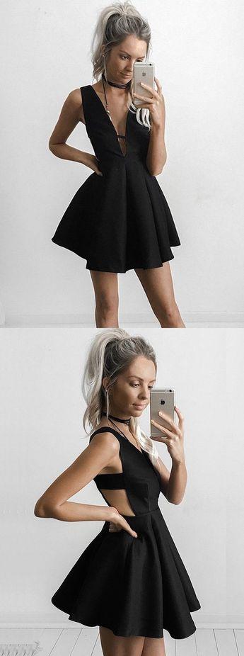 a04a70319 A-Line Deep V-Neck Short Cut Out Black Satin Homecoming Dress Party Dress